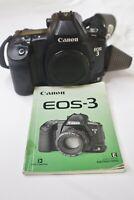 Canon EOS 3 35mm SLR Film Camera Body & Instructions