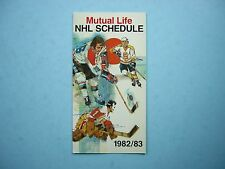 1982/83 MUTUAL LIFE OF CANADA NHL HOCKEY SCHEDULE