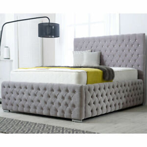 Chesterfield Overall Gas Lift Up Fabric Ottoman Storage Bed Frame with Headboard