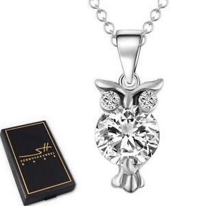 Halskette Kleine Eule, Geschenk Kette Damen Silber im Etui, Schmuckhandel Haak®