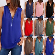 Womens Zip Casual Basic Sweatshirt Pullover Pure Cami Chiffon Blouse Vest Tops