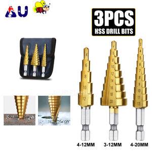 NEW 3pcs HSS Steel Step Cone Drill Titanium Bit Set Hole Cutter 3/12mm 4-12/20mm