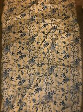 Vintage Bloomcraft cotton blue floral bird print Valance & Panel Curtain
