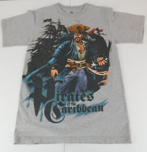 Disney Pirates of the Caribbean Mens T Shirt Gry size Small S Cotton
