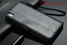 Black Luxury Leather Flip Wallet Case Cover Pouch For HTC Desire 816 USA