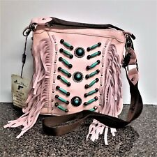 Montana West Concealed Carry Beaded Crossbody Bag Genuine Leather Fringe Purse
