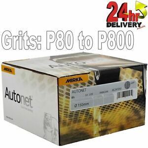 "Mirka Autonet 150mm P80 - P500 Grits Available Box 50 6"" Abrasive Sanding Discs"