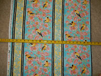 American Goldfinch Finches Bird Rose Roses Stripe Timeless C-3489 cotton fabric