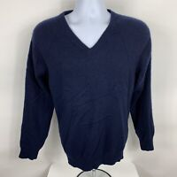 Jos. A. Bank Men's 100% Cashmere Sweater Size Large Soft Navy Blue V Neck