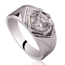 925 Sterling Silver Men Ring Size 11 with 6-prong Clear CZ Gift for Boyfriend