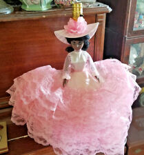 Vintage Doll Table Lamp - Black African American Doll in Pink Ruffle Dress
