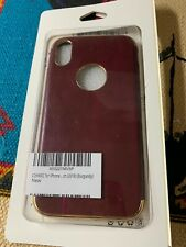 For iPhone Xs Luxury Case Slim Leather Cover Soft Grip Shockproof Burgundy