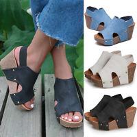 ❤️ Women Wedge Heels Platform Sandals Summer Ankle Strap Peep Toe Shoes Size 6-9