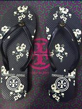 L@@K ON SALE Size 6 NEW Tory Burch Printed Floral Navy Cream Flat Flip Flops