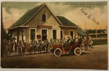 1919 Postcard Leavenworth, Kansas Electric Railway Depot Soldiers Coming Home