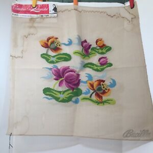 "Floral Pre-Worked Needlepoint Canvas Countess Cis Zoltowska 26"" x 26"" 10 Count"