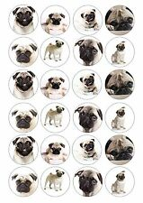 24 Pug Pug Dog Wafer / Rice Paper Cupcake Topper Edible Fairy Cake Bun Toppers