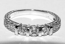 Ornate 14K White Gold 3-stone Diamond Ring Anniversary Band Size 6.75 Amazing