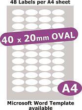 40x20mm ovale 240 étiquettes Livre Blanc Mat 5 laser A4 COPIEUR JET D'ENCRE autocollants