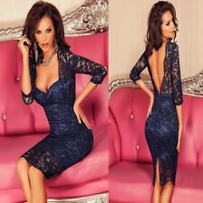Sz 8 10 Blue Lace 3/4 Sleeve Bodycon Padded V Back Slim Evening Slit Midi Dress