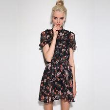 Black Short Sleeve Crew Neck Floral-print Mini Dress chiffon skirt Elastic waist