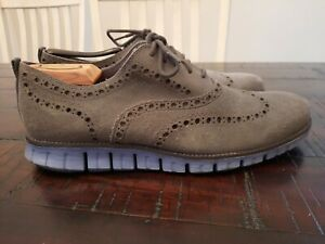 Cole Haan Zerogrand Mens Size 9.5M Gray/Blue Wingtip Oxfords Shoes