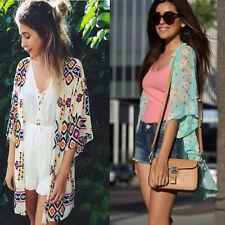 Women Blouse Printed Half Sleeve Chiffon Cardigan Kimono Tops Summer Cusual Coat