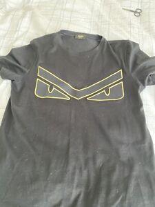 Fendi Cotton 'Bag Bugs' Gold/Black t-shirt Size S Authentic