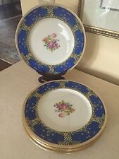 Lenox 1830 Dinner Plates 1930u0027s - Enamel Flowers Art Deco Royal Blue Set Of ... : art deco dinnerware - pezcame.com