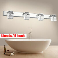 4/6 Lights LED Crystal Mirror Front Make-up Wall Light Bathroom Washroom Sconce
