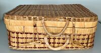 Vintage Wicker Suitcase Picnic Basket Decorative Storage Basket