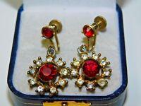 Vintage Gold Tone Ruby Red White Rhinestone Flower Screw Back Earrings 12K 91