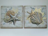 2 Pc Seashells Nautical Canvas w/ Foil Wall Hanging Home Decor 11.81x11.81