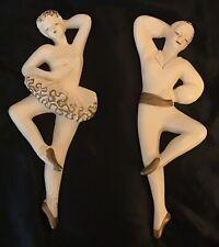 Vtg Mid Century Ballet Dancer Wall Hangings White and Gold, Chalkware, Ballerina