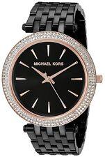 bc97840a35af Michael Kors Women s Darci Rose Gold-Tone Bezel Black Bracelet Watch MK3407