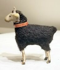 Early 1900s Wooly Goat. Wooden Legs, Black wood-wrapped Body. Germany.