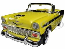 1956 CHEVROLET BEL AIR CONVT YELLOW/BLACK  1:18 DIECAST BY ROAD SIGNATURE 92128