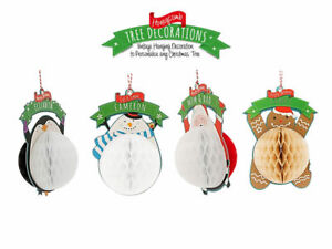 """X'mas Pre-Personalised Named """"Relatives-Family"""" Honeycomb Card Tree Decoration"""