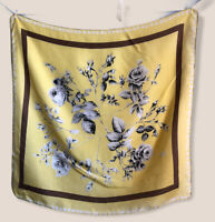 """31"""" Vintage Scarf Yellow Gray Roses Brown Silk Scarf Chic Classic Floral FLAW"""