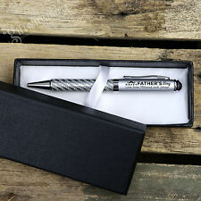 Customised Engraved Carbon Fiber Pen Set + Gift Box. Fathers Day Gift for Dad