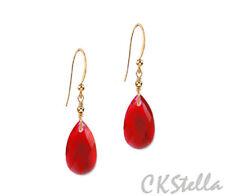 Gold gf Earrings w/ Swarovski Crystal *Ckstella* Light Siam Red Teardrop 14K
