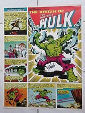 STAN LEE Signed 1980 Origin of the Incredible Hulk Coca Cola POSTER 22x28 Marvel