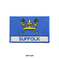 SUFFOLK County Flag With Name Embroidered Patch Iron on Sew On Badge For Clothes