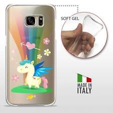 Galaxy S7 TPU CASE COVER PROTETTIVA GEL ULTRA TRASPARENTE Unicorno Arcobaleno