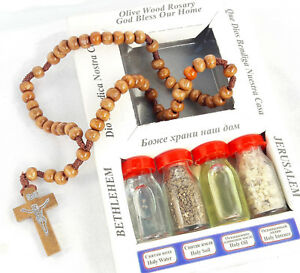 Olive rosary Wood Cross Holy Water Oil Frankinsence  Holy land