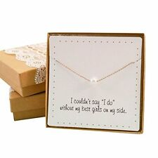 NEW Bridesmaid Gifts Pretty Single Floating Pearl Necklace Gold color Simulated