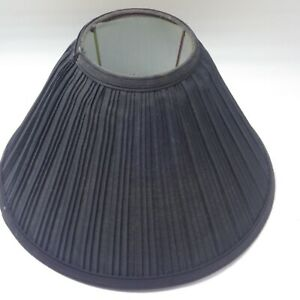BLACK Fabric Pleated Lamp Shade Bell distressed Shabby