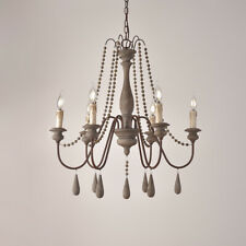 French Country Wood Bead Swag Wooden Chandelier Grey 1-Tier 6-Light Pendant Lamp