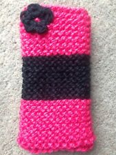 Hand knitted Mobile phone sock/cover/case Rose hip Pink/ Black flower detail