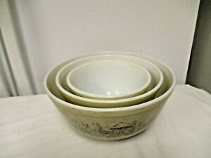 Pyrex USA 3-pc Forest Fancies Mushroom Nesting Mixing Bowls Speckled #401-2-3